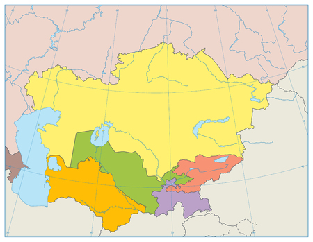 Central Asia Political Map. No text. Vector illustration.