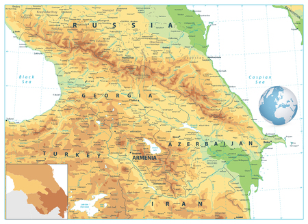 Caucasus Physical Map Isolated on White. Detailed vector map of the Caucasus.