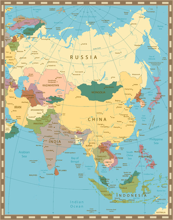 Old vintage color map of Asia.All elements are separated in editable layers clearly labeled. Ilustrace