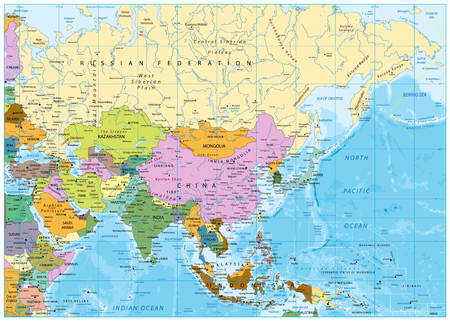 Asia political map with rivers, lakes and elevations. Illustration