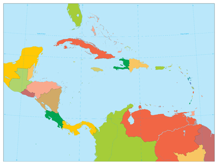 Political Map of the Caribbean. No text.Highly detailed vector illustration.