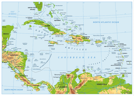 The Caribbean Physical Map. No bathymetry. Highly detailed vector illustration.