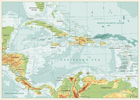 La mappa fisica dei Caraibi. Colori retrò. Illustrazione vettoriale altamente dettagliata.