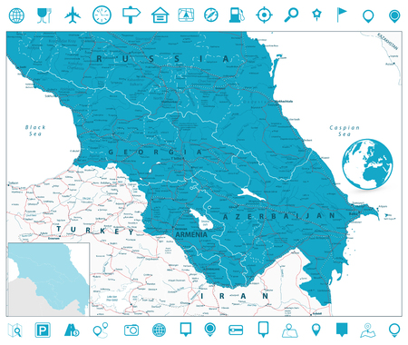 Caucasus Map and Navigation Icons. Detailed vector map of the Caucasus. 向量圖像