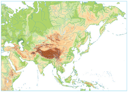 Asia Physical Map Isolated on White. No text. Vector illustration. Illustration