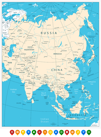 Asia highly detailed map and colored map pointers.All elements are separated in editable layers clearly labeled.