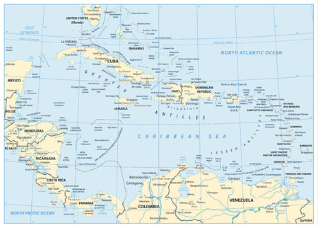 Map of The Caribbean. Highly detailed vector illustration. Illustration