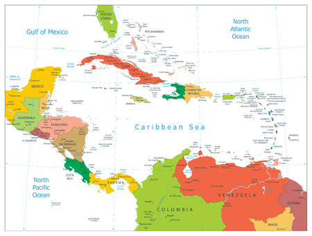 Political Map of the Caribbean isolated on white. Highly detailed vector illustration.