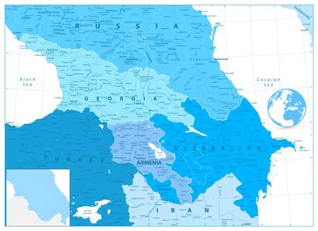 Caucasus Map in Colors of Blue. Detailed vector map of the Caucasus.