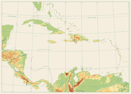 The Caribbean Physical Map No text. Isolated on retro white color. Highly detailed vector illustration.