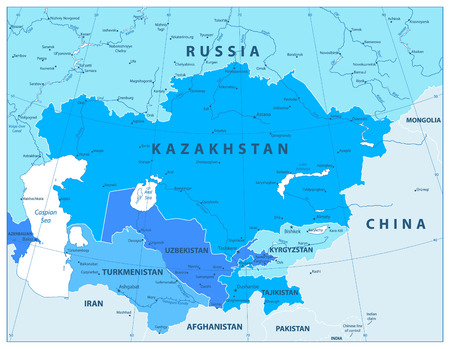 Central Asia Political Map In Colors Of Blue. Vector illustration. Illustration