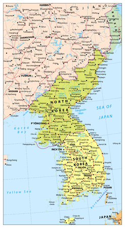 Korean Peninsula political map with roads, railroads, water objects, cities and capitals.