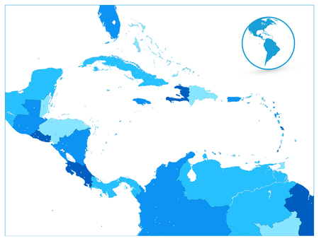 Blue Map of the Caribbean and pin icons.Highly detailed vector illustration.