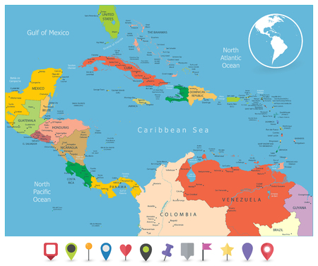 Political Map of the Caribbean and flat icons. Highly detailed vector illustration. Illustration