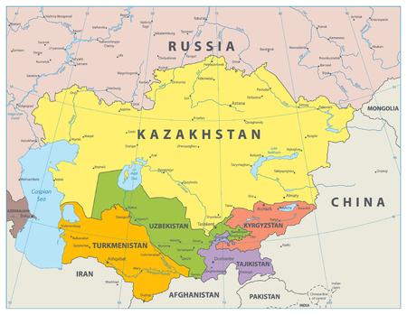 Central Asia Political Map. Vector illustration. Illustration