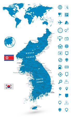 Detailed map of Korean Peninsula with World map navigation set. Vector illustration. Vetores