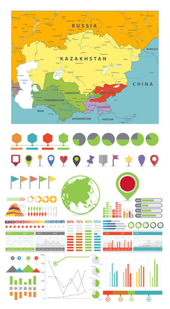 Central Asia Map and Infographics design elements. On white. Business template in flat style for presentation, booklet, website and other creative projects. Illustration