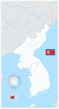 North And South Korea blank map with water objects isolated on white. Ilustrace