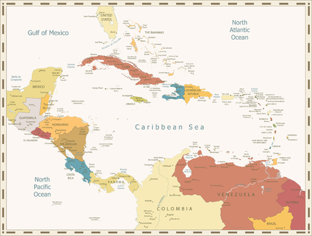 Retro Map of the Caribbean. Highly detailed vector illustration.