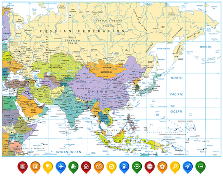 Colored Asia map and colorful map pointers with roads rivers, lakes and elevations.