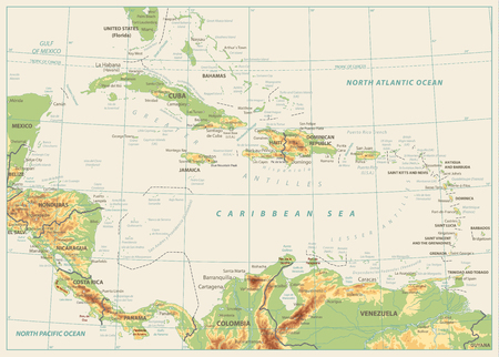 The Caribbean Physical Map. Isolated on retro white color. Highly detailed vector illustration.