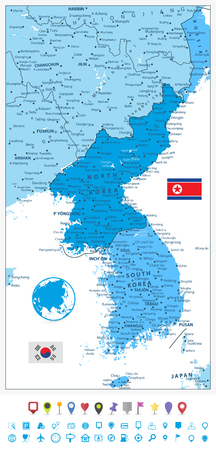 Korean Peninsula Map in colors of blue and flat navigation icons, North And South Korea Map with cities and capitals.