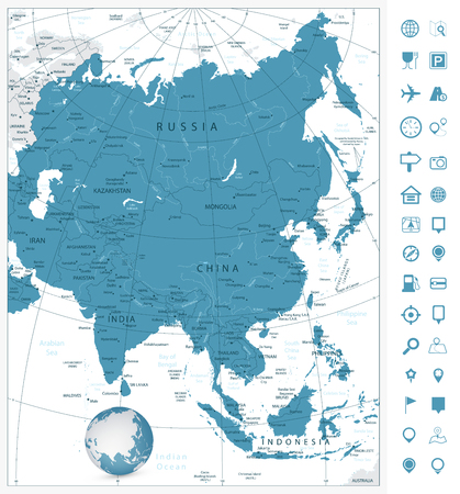 Asia highly detailed map and navigation icons.All elements are separated in editable layers clearly labeled.