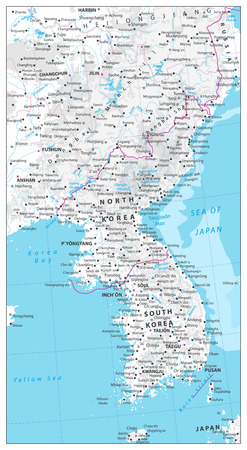 Korean Peninsula Map Physical Map with water objects, cities and capitals. Ilustrace