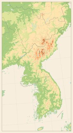 Retro color Korean Peninsula Physical Map. No text. Isolated on retro white. Vector illustration.