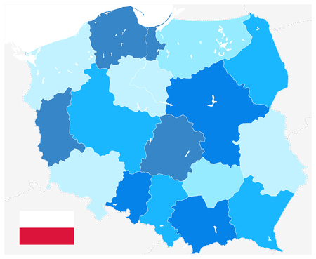 Poland Administrative Map Blue Colors. No Text - Detailed map of Poland vector illustration - All elements are separated in editable layers clearly labeled.