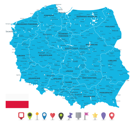 Poland Map and Flat Map Icons - Detailed map of Poland vector illustration. Illustration