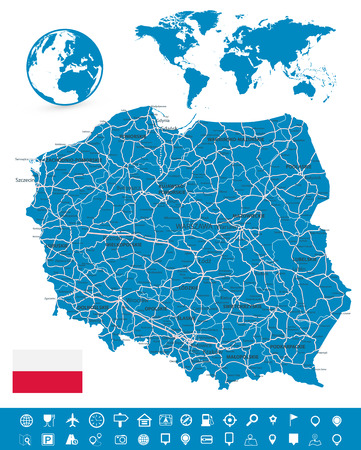 Poland Map and Map Navigation Set - Detailed map of Poland vector illustration.