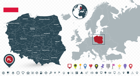 Poland Map and Poland location on the Europe map isolated on transparent background. Highly detailed vector illustration of map. Illustration