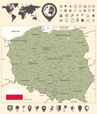 Poland Map and World Map with navigation icon - Detailed map of Poland vector illustration. Illustration