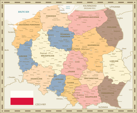Poland Map Retro Colors - Detailed map of Poland vector illustration.