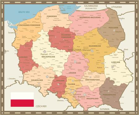 Poland Map Vintage Color - Detailed map of Poland vector illustration. Illustration