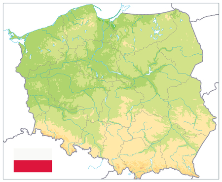 Poland Physical Map Isolated On White. No text. Highly detailed map vector illustration. Image contains layers with shaded contours, water objects.