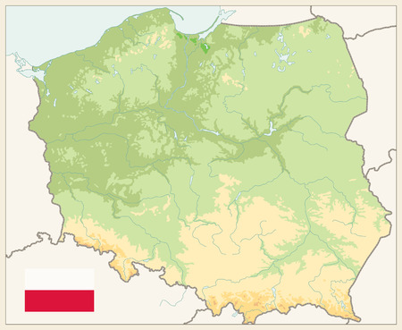 Poland Physical Map Retro Colors. No text - Detailed map of Poland vector illustration - All elements are separated in editable layers clearly labeled.