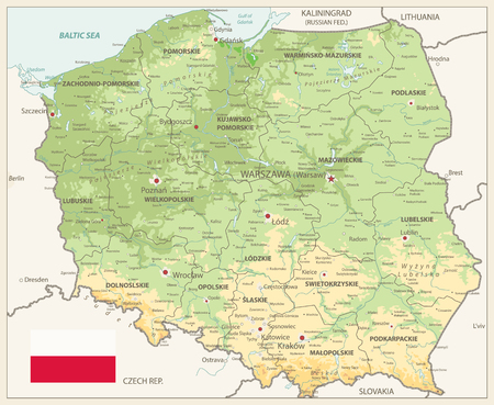 Poland Physical Map Retro Colors - Detailed map of Poland vector illustration - All elements are separated in editable layers clearly labeled.
