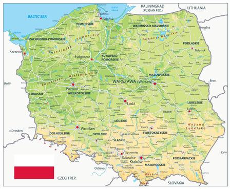 Polen physische Karte. Sehr detaillierte Kartenvektorillustration. Das Bild enthält Ebenen mit schattierten Konturen, Landnamen, Städtenamen, Wasserobjekten und deren Namen, Autobahnen.
