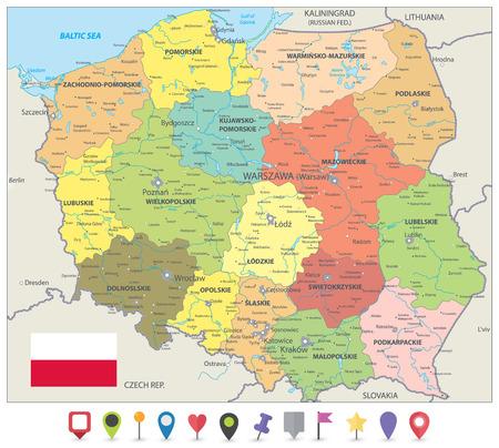 Mappa politica della Polonia e icone della mappa piatta - mappa dettagliata dell'illustrazione vettoriale della Polonia. Vettoriali