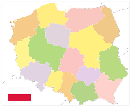 Poland Political Map Isolated on white. No text - Detailed map of Poland vector illustration. Illustration