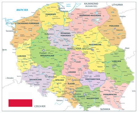 Polska polityczna mapa na białym tle - Szczegółowa mapa Polski ilustracji wektorowych.