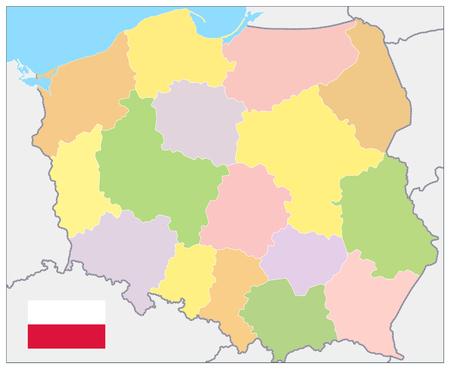 Poland Political Map. No text - Detailed map of Poland vector illustration.