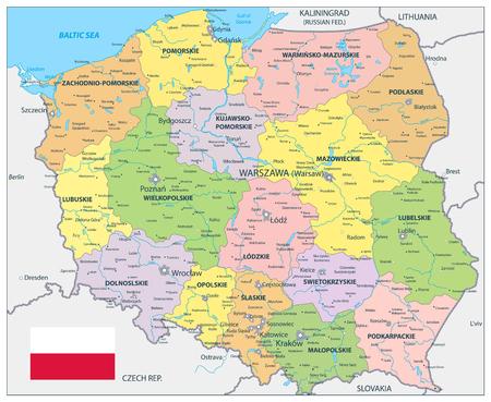 Poland Political Map - Detailed map of Poland vector illustration.