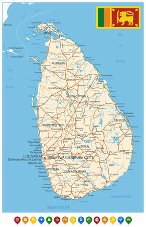 Sri Lanka Detailed Map and Colored Icons - High detail map of Sri Lanka - All elements are separated in editable layers clearly labeled - Vector illustration.