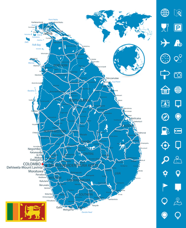 Sri Lanka Detailed Map and Map Navigation Set - High detail map of Sri Lanka - All elements are separated in editable layers clearly labeled - Vector illustration.