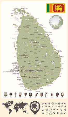 Sri Lanka Detailed Map and World Map with Navigation Icons - High detail map of Sri Lanka - All elements are separated in editable layers clearly labeled - Vector illustration.