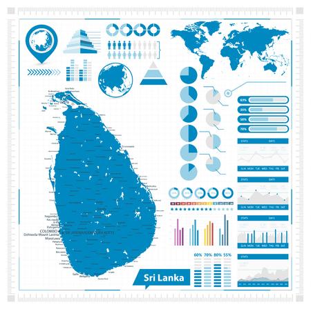 Sri Lanka Map and infographic elements - Vector illustration. Illustration