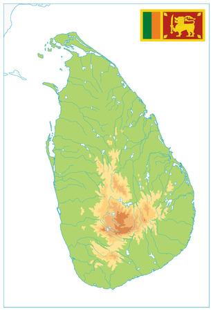 Sri Lanka Physical Map Isolated on White. No text - High detail map of Sri Lanka - Vector illustration. Illustration